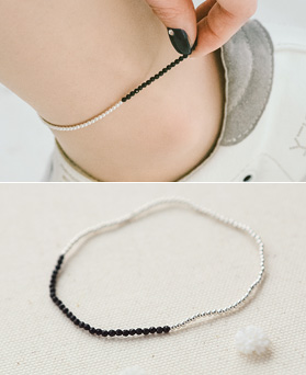 1044286 - <BC500_HE12> [Silver] slim ball Ann onyx anklet