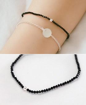 1044287 - <BC501_HE12> [Silver] slim ball Ann onyx bracelet
