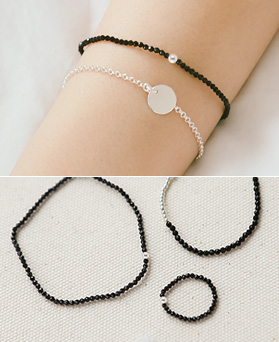 1044288 - <JS193_HE12> [bracelet + anklet + ring] [Silver] slim on the ball Ann onyx set