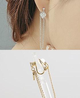 1044312 - <ER968_DI28> [clip type] diamond chain long earrings