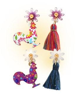 1044318 - <ER980_CG15> Chicken Ann tassel earrings