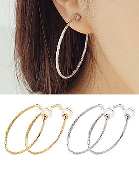 1044324 - <PC189_S> [Clip type] [cut type] wave cutting round ring earrings (4cm)