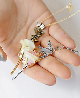 1044325 - <NE296_BC06> bird Ann honey bee long necklace