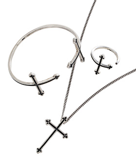 1044333 - <JS194_IF07> [necklace + bracelet + ring] [Silver] Edge cross set