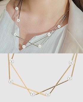 1044342 - <NE299_BB00> twin pearl line necklace