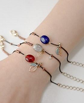 1044364 - <BC507_S> Gemstone Leaf bracelet