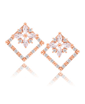 1044365 - <ER989_DB30> [Silver Post] iris square earrings