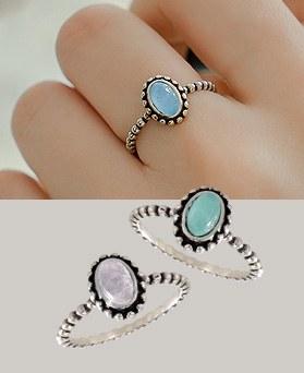 1044366 - <RI568_S> [Same day shipping] [Silver] Lawrence gemstone ring
