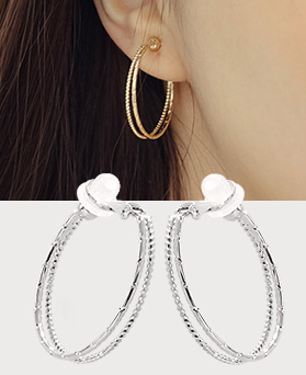 1044368 - <PC191_S> [Out of stock] [clip type] Two line cutting ring earrings