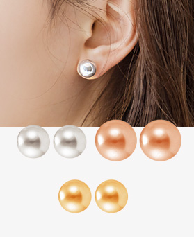 1044371 - <ER990_GZ01> [Silver Post] Soft ball earrings