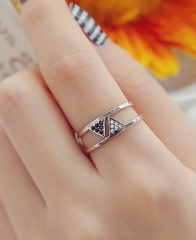 1044374 - <RI570_S> [Same day delivery] [Silver] Duel ring