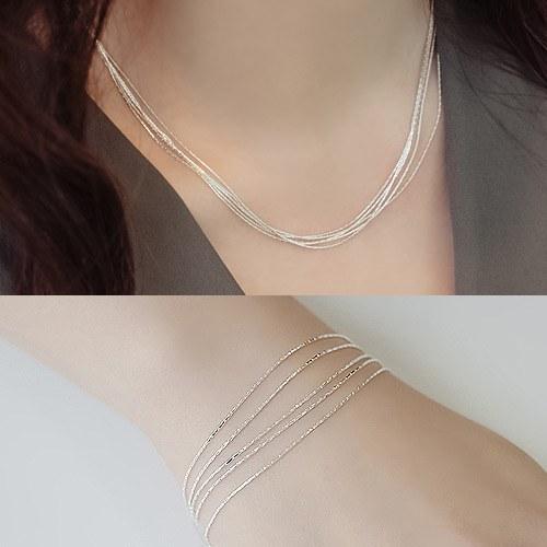1044403 - <JS197_IH11> [Same day delivery] [necklace + bracelet] [Silver] 5line unique set