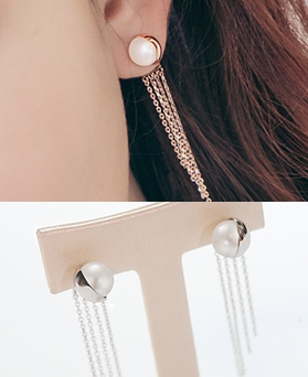 1044410 - <ER999_GD09> [Silver Post] seira pearl chain earrings