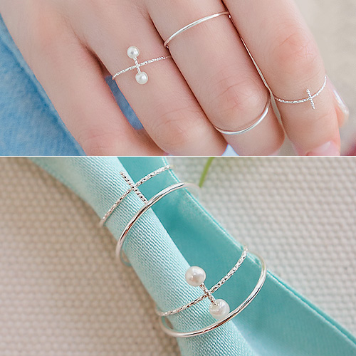 1044413 - <RI577_JH01> [4Piece 1set] [Silver] twin the day ring