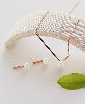1044415 - <JS198_IF12> [earrings + necklace] [Silver] Lawrence stick Ann pearl set