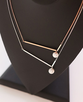 1044416 - <NE308_IF12> [Silver] Lawrence stick Ann pearl necklace