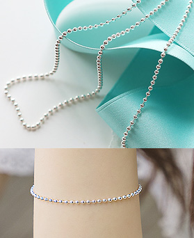 1044450 - <JS200_IB01> [necklace + bracelet + anklet] [Silver] 2mm Sharon ball chain set