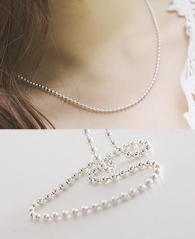 1044451 - <NE311_IB01> [Same day delivery] [Silver] 2mm Sharon ball chain necklace
