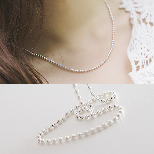 1044451 - <NE311_IB01> [Same day shipping] [Silver] 2mm Sharon ball chain necklace