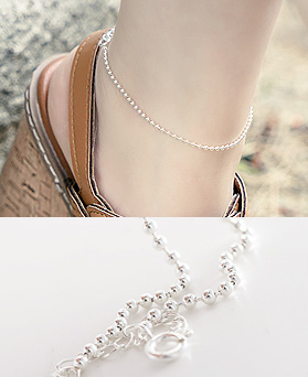 1044453 - <BC532_IB01> [Same day shipping] [Silver] 2mm Sharon ball chain anklet