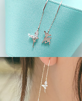 1044480 - <ER1009_GF10> [Silver] Bambi & Tinkerbell long earrings
