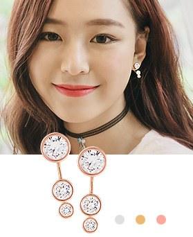1044485 - <ER1010_GG06> [Silver Post] Gretel round earrings