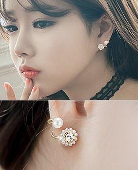 1044495 - <ER1013_DH19> [Silver Post] pretty line pearl earrings