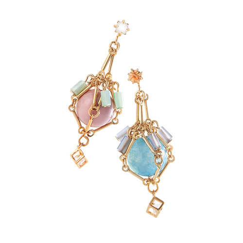 1044498 - <ER1014_DA29> [handmade] Bell Swarovski stone earrings