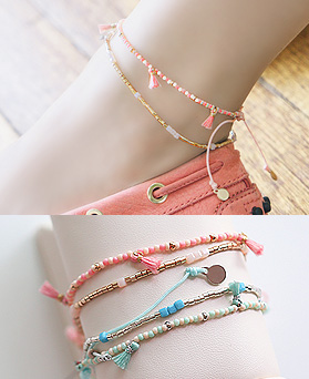 1044504 - <BC540_HG09> [2Piece1set] 2 line beads anklet