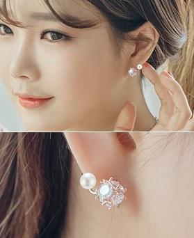 1044506 - <ER1016_DA01> [Silver Post] blanc mirror earrings