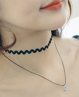 1044521 - <NE317_BB01> crystal two lines choker necklace