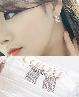 1044522 - <ER1020_DE24> [Silver Post] Milan chain earrings