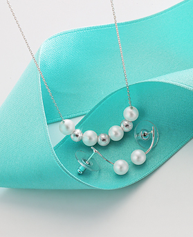 1044535 - <JS205_BD06> [necklace + earrings] [Silver] Holiday pearl set