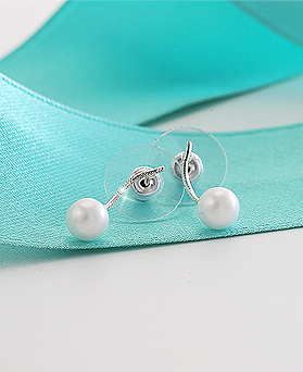 1044537 - <ER1024_BD06> [Silver] Holiday pearl earrings