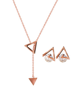 1044543 - <JS206_IE05> [earrings + necklace] [stainless steel] Reina triangle set