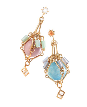 1044563 - <ER1014_DA29> [clip type] [handmade] Bell Swarovski stone earrings