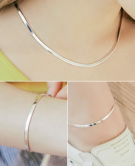 1044604 - <JS210_IH00> [Same day delivery] [necklace + bracelet + anklet] [Silver] 3mm snake chain set
