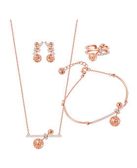 1044621 - <JS211_IF15> [necklace + bracelet + earrings + ring] ball cheek set