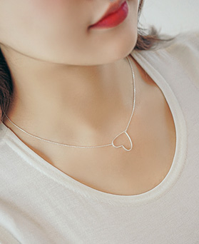 1044768 - <NE337_S> [Same day shipping] [Silver] story heart necklace
