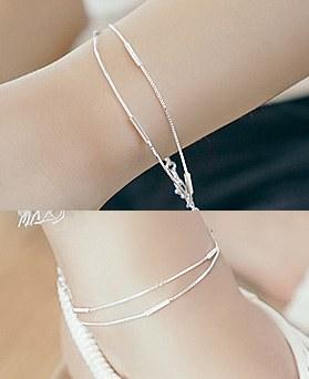 1044771 - <JS217_BE06> [bracelet + anklet] [Silver] stick snake set