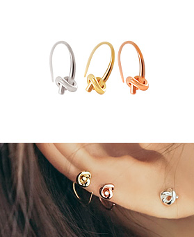 1044782 - <ER1084_B> [Selling pairs] [Silver] twist earrings (ring type)