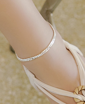 1044794 - <BC610_BE06> [Silver] ray chain anklet