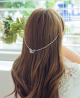 1044799 - <HA490_EF07> pearl butterfly back pendente hairband