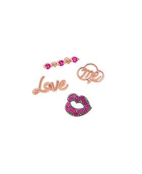 1044802 - <ER1087_IH17> [Silver Post] Mini lip love earrings