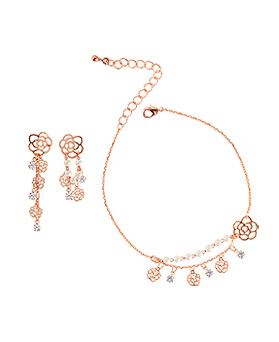 1044826 - <JS221_IH14> [anklet + earrings] [Silver Post] rose chain set