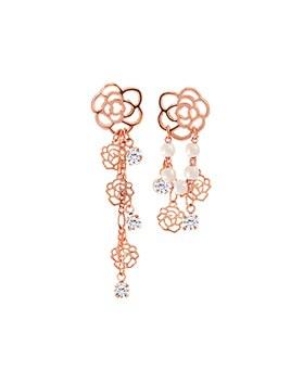 1044828 - <ER1096_IH14> [Silver Post] rose chain earrings