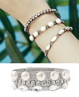 1044839 - <BC618_HF06> [3Piece 1set] antique fusia bracelet