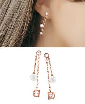 1044844 - <ER1101_S> [Silver Post] D rhyme earrings