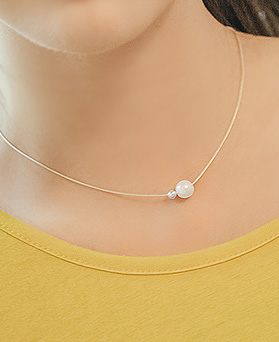 1044884 - <NE346_BD08> [Silver] pearl slimming necklace