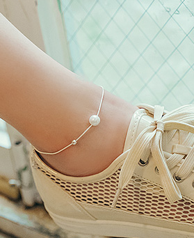 1044886 - <BC625_BD08> [Silver] pearl slimming anklet